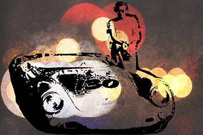 Digital Art - James Dean And Little Bastard by Paulette B Wright