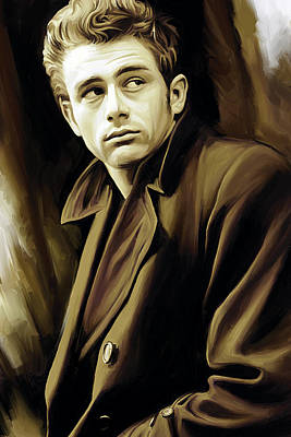 Celebrity Portraits Painting - James Dean Artwork by Sheraz A