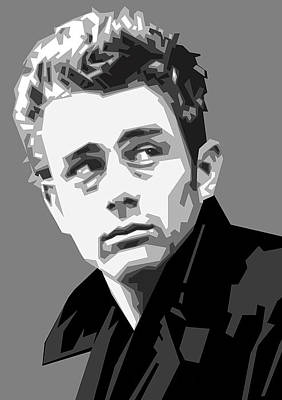 Dean Digital Art - James Dean In Black And White by Douglas Simonson