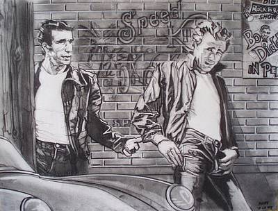 Drawing - James Dean Meets The Fonz by Sean Connolly