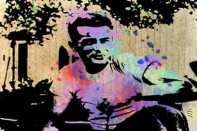 Digital Art - James Dean - Splatter Watercolor by Paulette B Wright