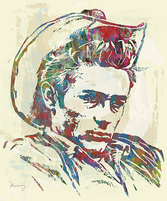 Marilyn Monroe Drawing - James Dean  - Stylised Etching Pop Art Poster by Kim Wang