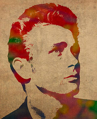 James Dean Watercolor Portrait On Worn Distressed Canvas Art Print