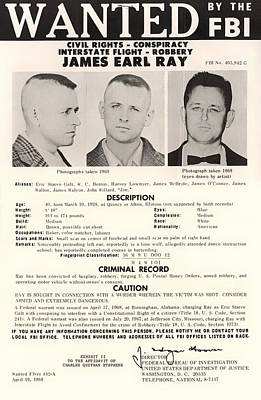 James Earl Ray Fbi Wanted Poster 1968 Art Print by Mountain Dreams