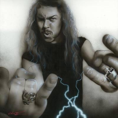 Grunge Skull Painting - ' James Hetfield ' by Christian Chapman Art