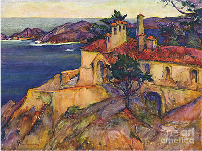 James House Carmel Highlands California By Rowena Meeks Abdy 1887-1945  Art Print by California Views Mr Pat Hathaway Archives