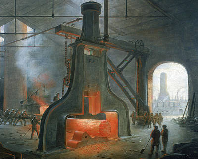 Manchester Mill Painting - James Nasmyth's Steam Hammer by James Nasmyth
