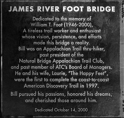 Photograph - James River Foot Bridge Sign by Cathy Shiflett