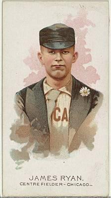 Baseball Cards Drawing - James Ryan, Baseball Player, Center by Allen & Ginter