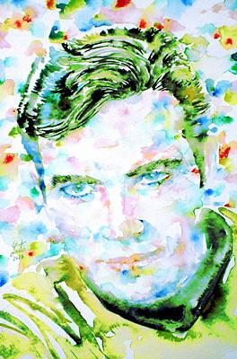 Captain Kirk Painting - James T. Kirk - Watercolor Portrait by Fabrizio Cassetta