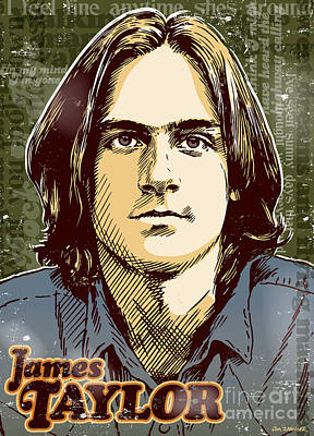 James Taylor Pop Art Art Print by Jim Zahniser