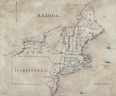 Old Map Photograph - James Whistler Map Of Northeast U. S.  1844 by Daniel Hagerman