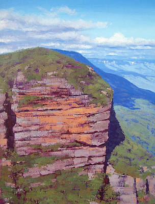 Three Sisters Painting - Jamison Cliff Face  Leura by Graham Gercken