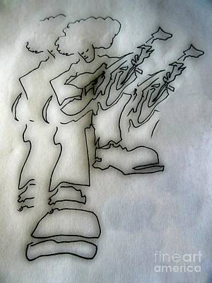 Musicians Drawings - Jammin Vibes by John Malone