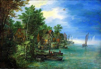 Op Painting - Jan Brueghel The Elder Gezicht Op Een Dorp Aan Een Rivier 1604 by MotionAge Designs