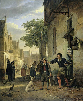 Wine Gallery Art Painting - Jan Steen Sends His Son To The Streets To Exchange by Litz Collection