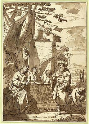 Jan Tengnagel, Dutch 1584-1635, Abraham Entertaining Art Print by Litz Collection