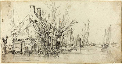 Jan Van Goyen Dutch, 1596 - 1656, Cottages By A River Art Print by Quint Lox
