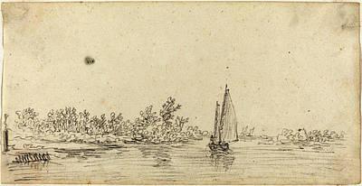 Jan Van Goyen Dutch, 1596 - 1656, Sailboat On An Estuary Art Print by Quint Lox