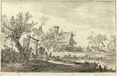 Wash Drawing - Jan Van Goyen Dutch, 1596 - 1656, Wayside Inn by Quint Lox
