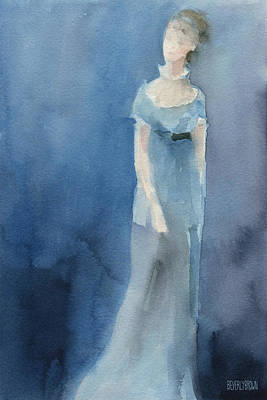 Abstracted Painting - Jane Austen Watercolor Painting Art Print by Beverly Brown