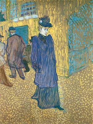 Moulin Rouge Painting - Jane Avril Leaving The Moulin Rouge by Toulouse-Lautrec