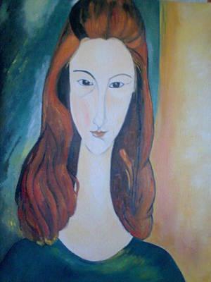 Painting - Jane Hebuterne by Asia Dzhibirova