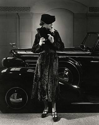 American Car Photograph - Jane Powell Standing In Front Of A Vintage Car by Edward Steichen