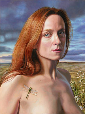 Wall Art - Painting - Jane With A Dragonfly by Miguel Tio