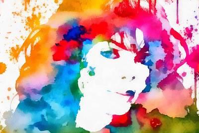 Janet Jackson Watercolor Paint Splatter Art Print by Dan Sproul