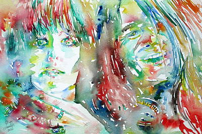 Janis Painting - Janis Joplin And Grace Slick Watercolor Portrait.1 by Fabrizio Cassetta
