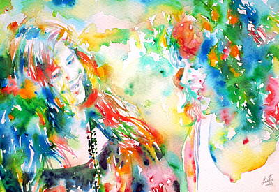 Grace Slick Painting - Janis Joplin And Grace Slick - Watercolor Portrait.2 by Fabrizio Cassetta