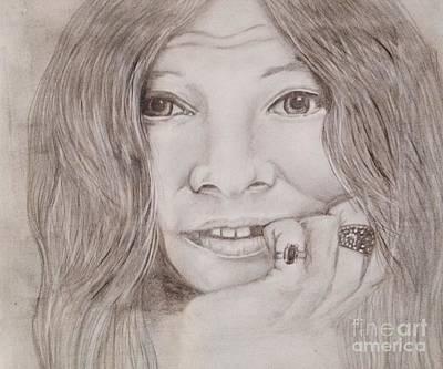 Joplin Drawing - Janis Joplin by Manon Zemanek