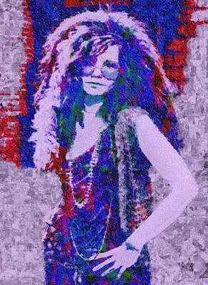 Cry Baby Painting - Janis Joplin Mosaic by Jack Zulli