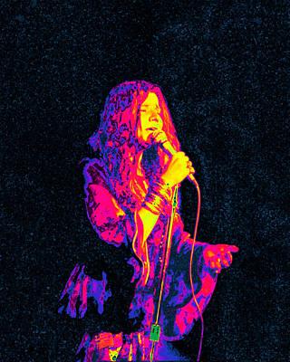 Digital Art - Janis Joplin Psychedelic Fresno  by Joann Vitali