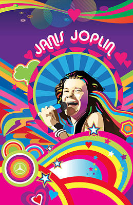 Digital Art - Janis Joplin by Robert Korhonen