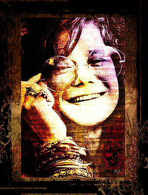 Gypsy Digital Art - Janis Joplin - Upclose by Absinthe Art By Michelle LeAnn Scott