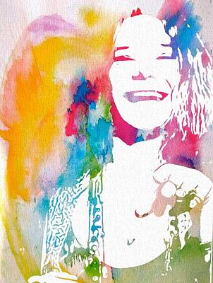 Rock And Roll Royalty-Free and Rights-Managed Images - Janis Joplin Watercolor by Dan Sproul