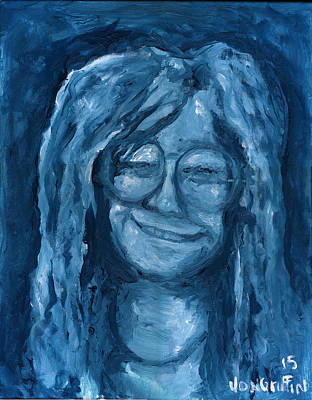 Joplin Drawing - Janis Turquoise by Jon Griffin