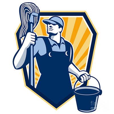 Janitor Cleaner Hold Mop Bucket Shield Retro Art Print by Aloysius Patrimonio