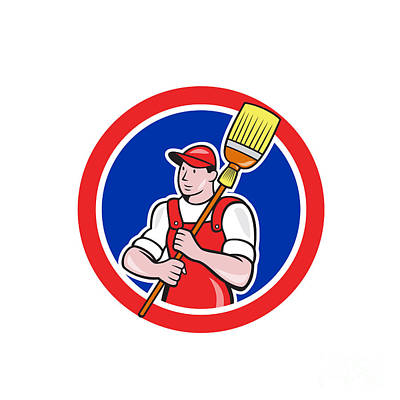 Sweeps Digital Art - Janitor Cleaner Holding Broom Circle Cartoon by Aloysius Patrimonio
