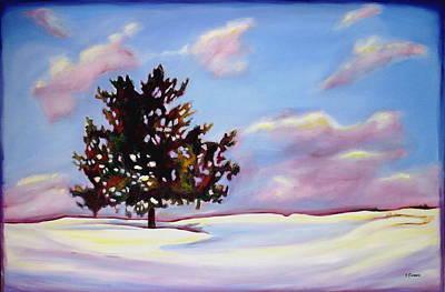 Drifting Snow Painting - January by Sheila Diemert