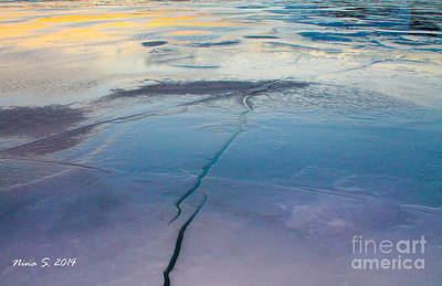Art Print featuring the photograph January Sunset On A Frozen Lake by Nina Silver