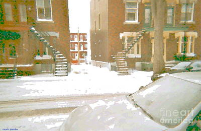 Painting - January Winter Street Winding Snow Covered Staircase Montreal Art Verdun Duplex Painting Cspandau by Carole Spandau