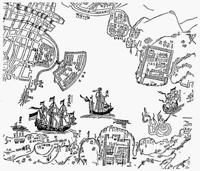 Harbor Drawing - Japan 17th Century Harbor by Granger