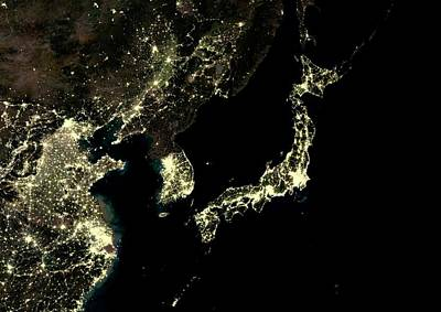 Map Of Japan Photograph - Japan And Korean Peninsula At Night by Planetobserver