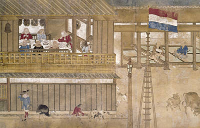 Flagpole Painting - Japan Dutch Traders by Granger