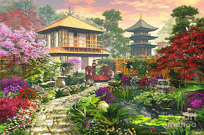 Koi Digital Art - Japan Garden by Dominic Davison