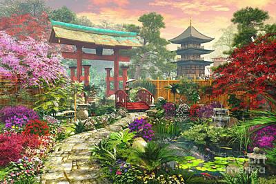 Lily Pad Digital Art - Japan Garden Variant 1 by Dominic Davison