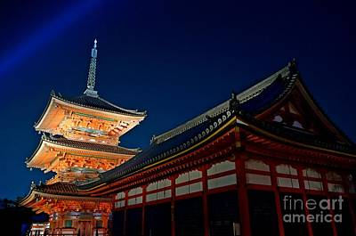Apan Photograph - Japan Kyoto Temple At Night by Sergey Reznichenko